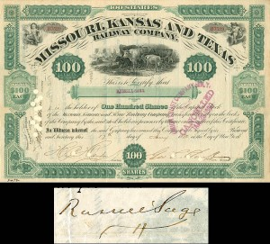 Missouri, Kansas and Texas Railway Company signed by Russell Sage -SOLD