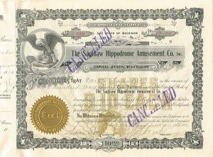 Saginaw Hippodrome Amusement Co. Inc. - Stock Certificate
