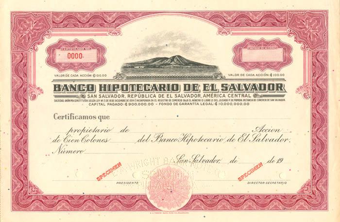 Banco Hipotecario De El Salvador - Specimen Stock Certificate