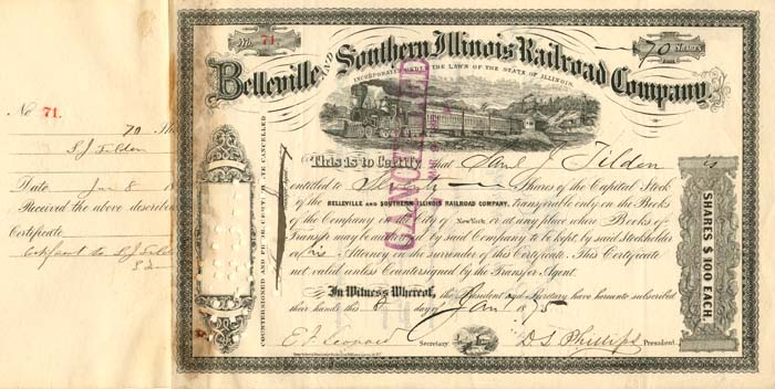 Belleville and Southern Illinois Railroad Company issued to Samuel J. Tilden