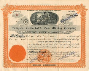 Sampson Consolidated Gold Mining Company - Only available Unissued