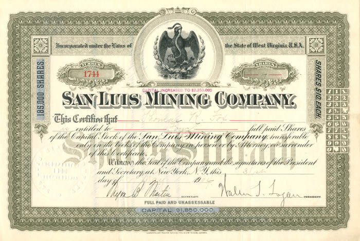 San Luis Mining Company - Stock Certificate