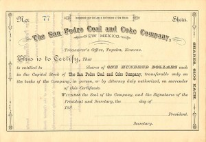 San Pedro Coal and Coke Company, New Mexico