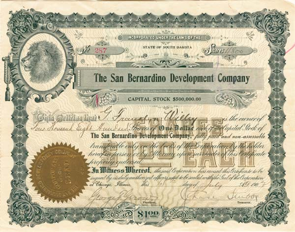 San Bernardino Development Company - Stock Certificate