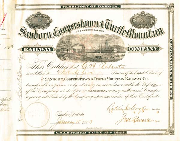 Sanborn, Cooperstown & Turtle Mountain Railway Company - Stock Certificate
