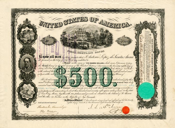 """Santa Anna"" Uncanceled First Mortgage $500 Bond of 1866 signed by Antonio Lopez de Santa Anna"