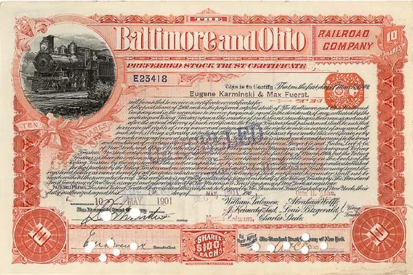 Baltimore and Ohio Railroad Company - Stock Certificate