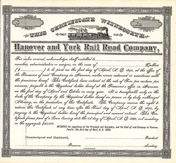 Hanover and York Railroad - Bond
