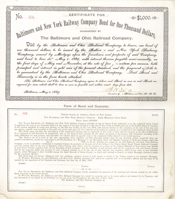 Baltimore & New York Railway - Bond