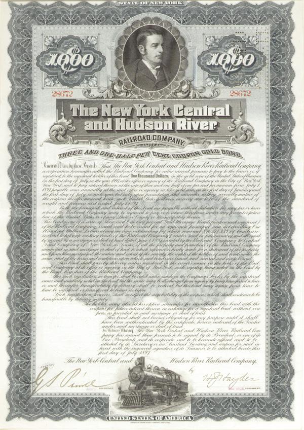 New York Central & Hudson River Railroad - Bond