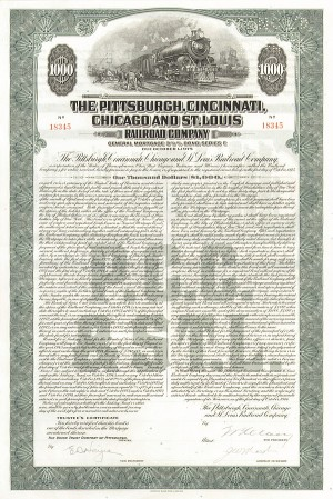 Pittsburgh, Cincinnati, Chicago & St. Louis Railroad - Bond
