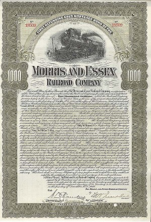 Morris and Essex Railroad Company - $1,000 Bond