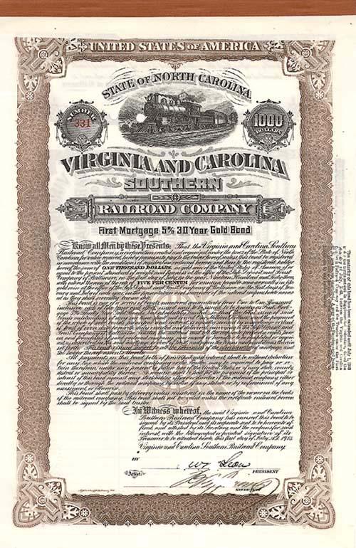 Virginia & Carolina Southern Railroad Company - Bond - SOLD