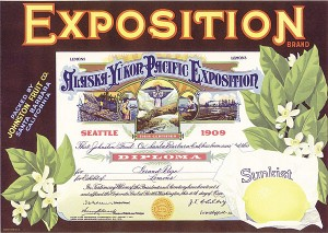 "Fruit Crate Box Label ""Exposition-Alaska-Yukon-Pacific Exposition"""