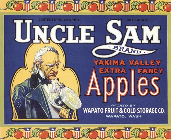 "Fruit Crate Label ""Uncle Sam-Apples"""