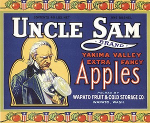 "Fruit Crate Label ""Uncle Sam-Apples"""