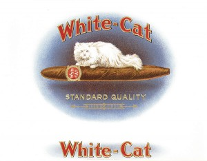 "Cigar Box Label ""White-Cat"""