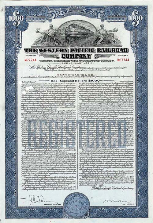 Western Pacific Railroad Company - Bond