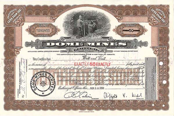 Dome Mines - Stock Certificate