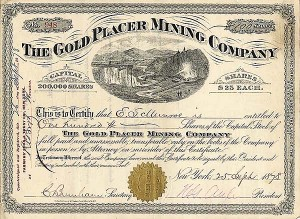 Gold Placer Mining - Stock Certificate