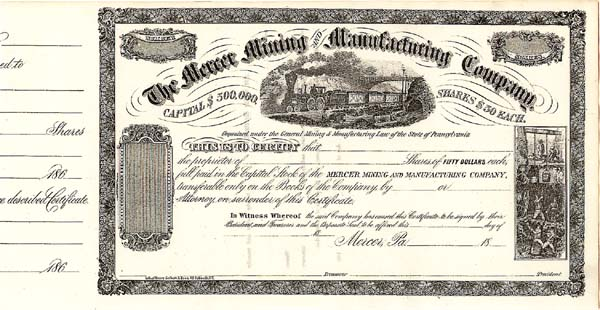 Mercer Mining and Manufacturing - Stock Certificate
