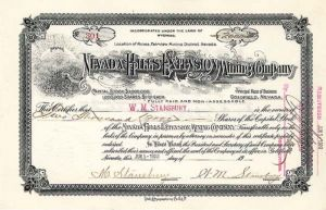 Nevada Hills Extension Mining Company - Stock Certificate