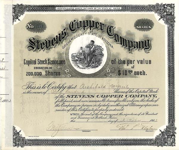 Stevens Copper Company - Stock Certificate