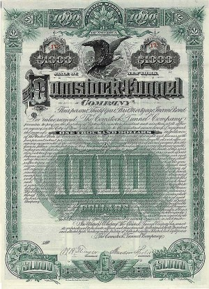 Comstock Tunnel Bond signed by Theodore Sutro