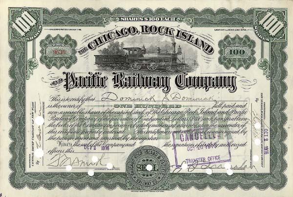 Chicago, Rock Island & Pacific Railway Company - Stock Certificate