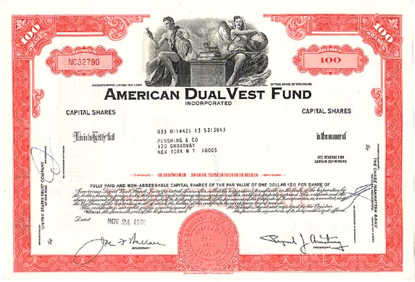 American Dual Vest Fund Incorporated - Stock Certificate