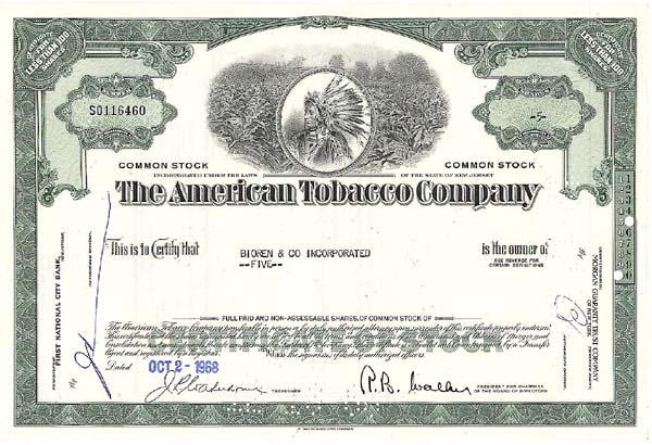 American Tobacco Co - Stock Certificate