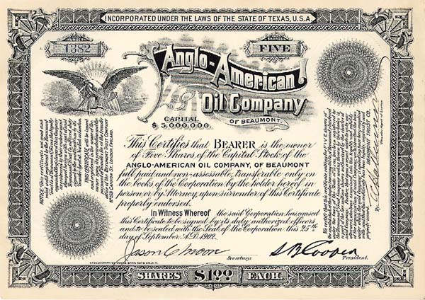 Anglo-American Oil Co - Stock Certificate