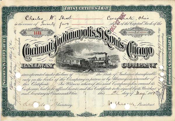 Cincinnati, Indianapolis, St. Louis & Chicago Railway Company - Stock Certificate