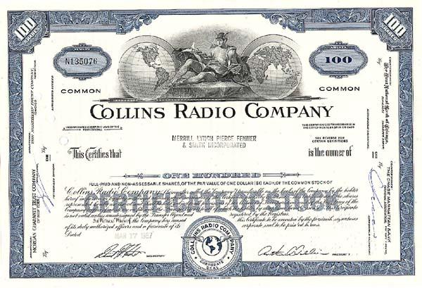 Collins Radio Company - Stock Certificate