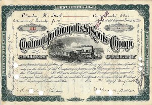 Cincinnati, Indianapolis, St. Louis & Chicago Railway Company - Stock Certificate