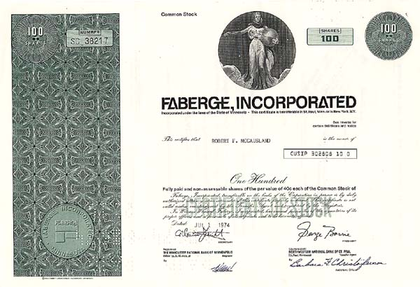 Faberge, Incorporated - Stock Certificate