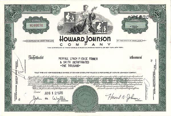 Howard Johnson Company - Stock Certificate