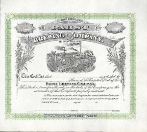 Pabst Brewing Company - Stock Certificate