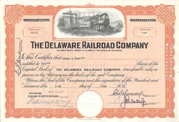 Delaware Railroad Company - Stock Certificate
