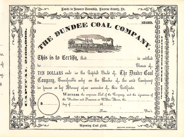 Dundee Coal Company - Stock Certificate