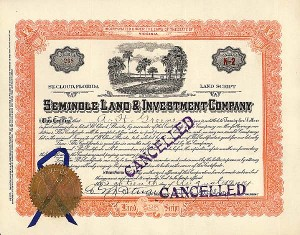 Seminole Land & Investment Co - Stock Certificate