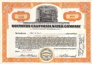 Southern California Water Co - Stock Certificate
