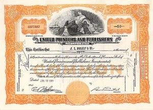 United Printers & Publishers, Inc - Stock Certificate