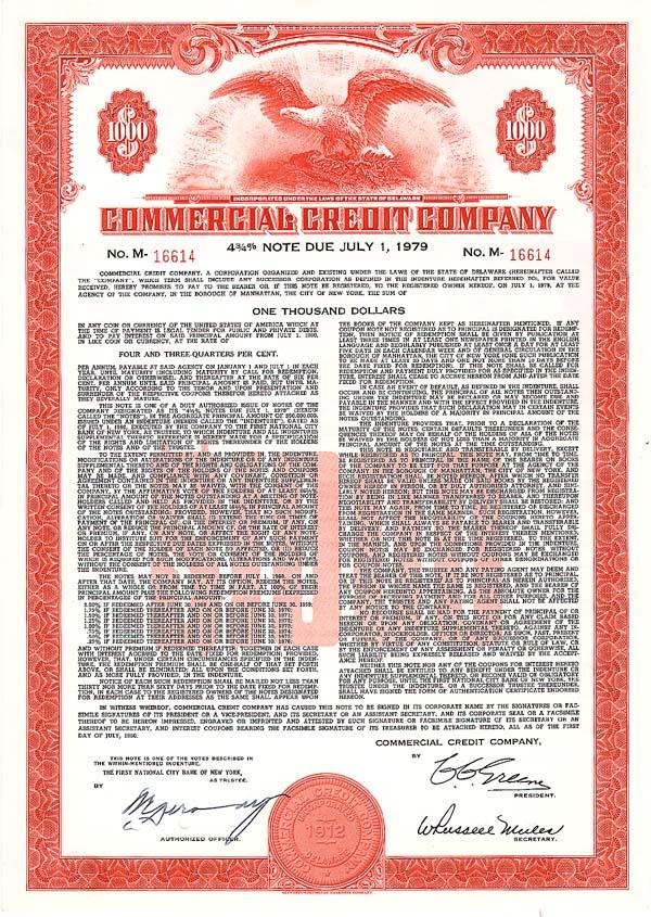 Commercial Credit - Bond