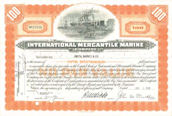 International Mercantile Marine - Company that Made the Titanic - Stock Certificate