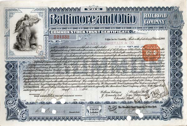 Baltimore & Ohio Railroad Company - Stock Certificate