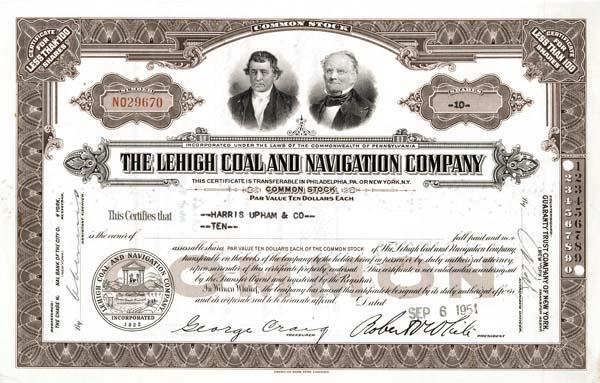 Lehigh Coal &  Navigation - Stock Certificate