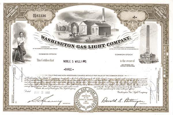 Washington Gas Light Co - Stock Certificate