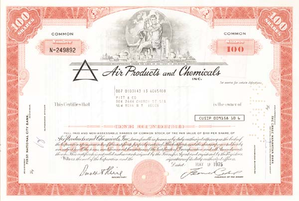 Air Products  & Chemicals, Inc - Stock Certificate
