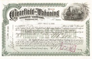 Clearfield & Mahoning Railway Company - Stock Certificate